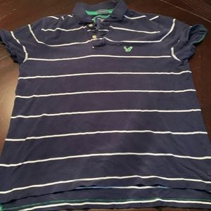 American eagle blue striped polo vintage fit